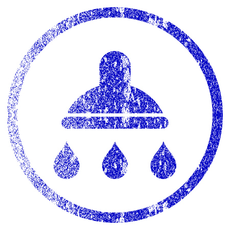 Shower grunge textured icon. Flat style with dirty texture. Corroded vector blue rubber seal stamp style. Designed for overlay watermark stamp elements with grainy design.