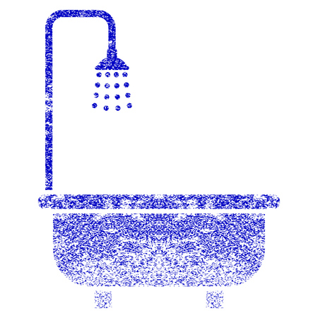 Shower Bath grunge textured icon. Flat style with unclean texture. Corroded vector blue rubber seal stamp style. Designed for overlay watermark stamp elements with grainy design.