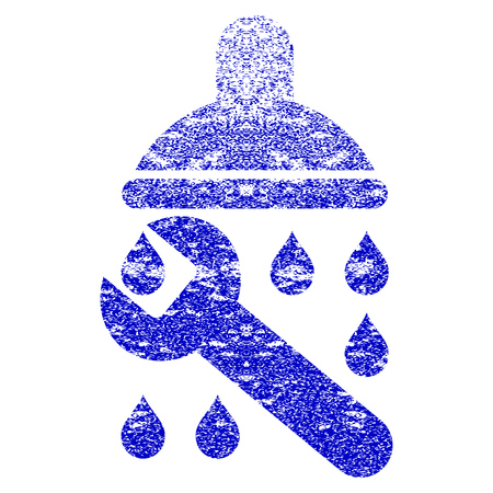 Shower Plumbing grunge textured icon. Flat style with dust texture. Corroded vector blue rubber seal stamp style. Designed for overlay watermark stamp elements with grainy design. Illustration