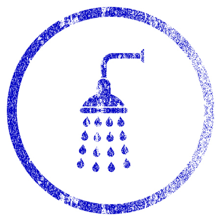 Shower grunge textured icon. Flat style with scratched texture. Corroded vector blue rubber seal stamp style. Designed for overlay watermark stamp elements with grainy design.