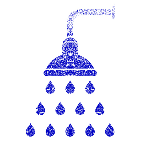 disinfection: Shower grunge textured icon. Flat style with dust texture. Corroded vector blue rubber seal stamp style. Designed for overlay watermark stamp elements with grainy design. Illustration