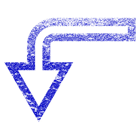 Turn Down grunge textured icon. Flat style with unclean texture. Corroded vector blue rubber seal stamp style. Designed for overlay watermark stamp elements with grainy design.