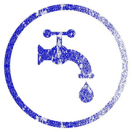 Water Tap grunge textured icon. Flat style with scratched texture. Corroded vector blue rubber seal stamp style. Designed for overlay watermark stamp elements with grainy design. Illustration