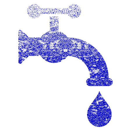 Water Tap grunge textured icon. Flat style with unclean texture. Corroded vector blue rubber seal stamp style. Designed for overlay watermark stamp elements with grainy design.