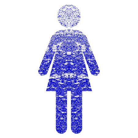 Woman grunge textured icon. Flat style with unclean texture. Corroded vector blue rubber seal stamp style. Designed for overlay watermark stamp elements with grainy design.