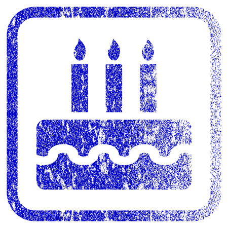 christmas cake: Birthday Cake textured icon for overlay watermark stamps. Blue vectorized texture. Flat vector symbol with scratched design inside rounded square frame. Framed blue rubber seal stamp imitation.