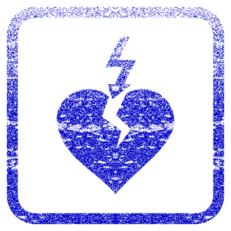 framed: Break Heart textured icon for overlay watermark stamps. Blue vectorized texture. Flat vector symbol with dust design inside rounded square frame. Framed blue rubber seal stamp imitation. Illustration