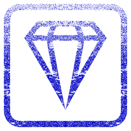 Gem textured icon for overlay watermark stamps. Blue vectorized texture. Flat vector symbol with dust design inside rounded square frame. Framed blue rubber seal stamp imitation.