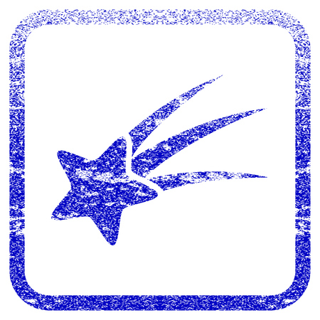 gift accident: Falling Star textured icon for overlay watermark stamps. Blue vectorized texture. Flat vector symbol with scratched design inside rounded square frame. Framed blue rubber seal stamp imitation.