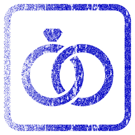 framed: Gem Rings textured icon for overlay watermark stamps. Blue vectorized texture. Flat vector symbol with dust design inside rounded square frame. Framed blue rubber seal stamp imitation.