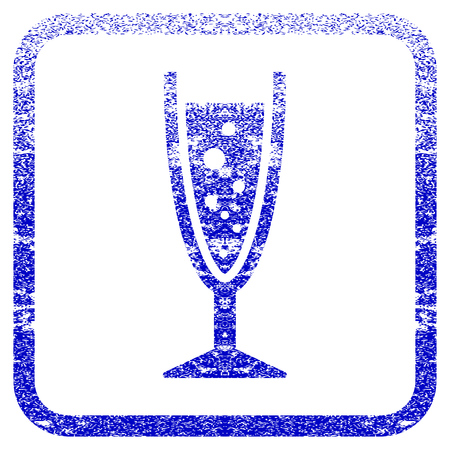 aerated: Champagne Glass textured icon for overlay watermark stamps. Blue vectorized texture. Flat vector symbol with dust design inside rounded square frame. Framed blue rubber seal stamp imitation. Illustration
