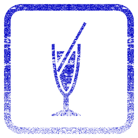 Cocktail textured icon for overlay watermark stamps. Blue vectorized texture. Flat vector symbol with dust design inside rounded square frame. Framed blue rubber seal stamp imitation.