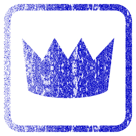 framed: Crown textured icon for overlay watermark stamps. Blue vectorized texture. Flat vector symbol with dust design inside rounded square frame. Framed blue rubber seal stamp imitation.