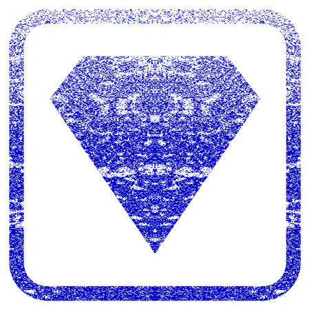 Diamond textured icon for overlay watermark stamps. Blue vectorized texture. Flat vector symbol with dust design inside rounded square frame. Framed blue rubber seal stamp imitation.