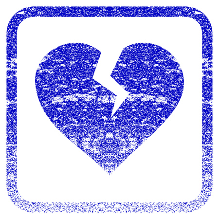 framed: Heart Break textured icon for overlay watermark stamps. Blue vectorized texture. Flat vector symbol with unclean design inside rounded square frame. Framed blue rubber seal stamp imitation.