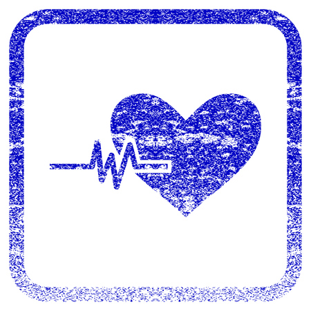 Heart Pulse textured icon for overlay watermark stamps. Blue vectorized texture. Flat vector symbol with dust design inside rounded square frame. Framed blue rubber seal stamp imitation.