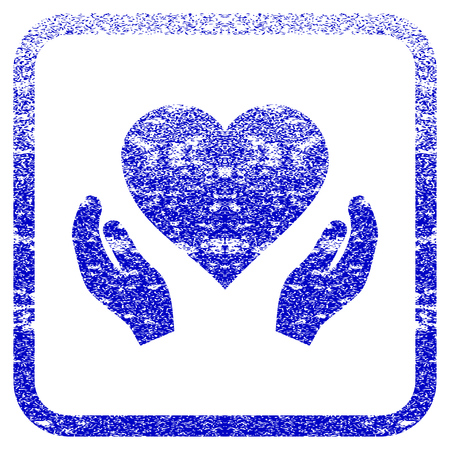 framed: Love Care Hands textured icon for overlay watermark stamps. Blue vectorized texture. Flat vector symbol with dirty design inside rounded square frame. Framed blue rubber seal stamp imitation.