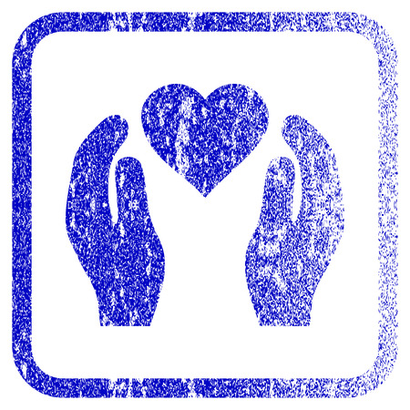 Love Care Hands textured icon for overlay watermark stamps. Blue vectorized texture. Flat vector symbol with unclean design inside rounded square frame. Framed blue rubber seal stamp imitation.
