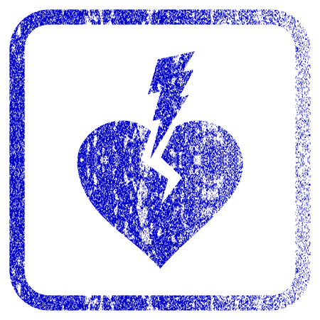 framed: Love Heart Crash textured icon for overlay watermark stamps. Blue vectorized texture. Flat vector symbol with scratched design inside rounded square frame. Framed blue rubber seal stamp imitation. Illustration