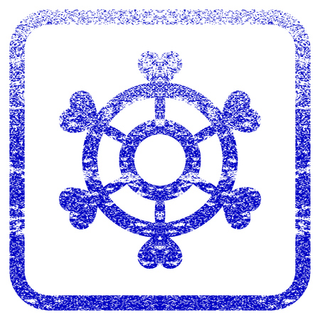 Lovely Boat Steering Wheel textured icon for overlay watermark stamps. Blue vectorized texture. Flat vector symbol with unclean design inside rounded square frame.