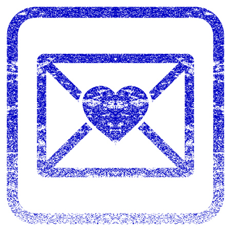 Love Letter textured icon for overlay watermark stamps. Blue vectorized texture. Flat vector symbol with dirty design inside rounded square frame. Framed blue rubber seal stamp imitation.