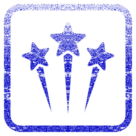 Star Salute textured icon for overlay watermark stamps. Blue vectorized texture. Flat vector symbol with scratched design inside rounded square frame. Framed blue rubber seal stamp imitation.