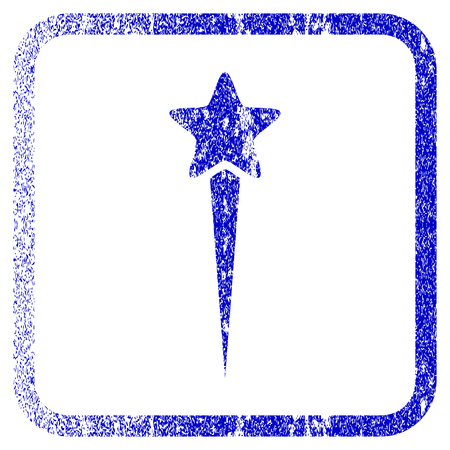 Starting Star textured icon for overlay watermark stamps. Blue vectorized texture. Flat vector symbol with scratched design inside rounded square frame. Framed blue rubber seal stamp imitation. Illustration