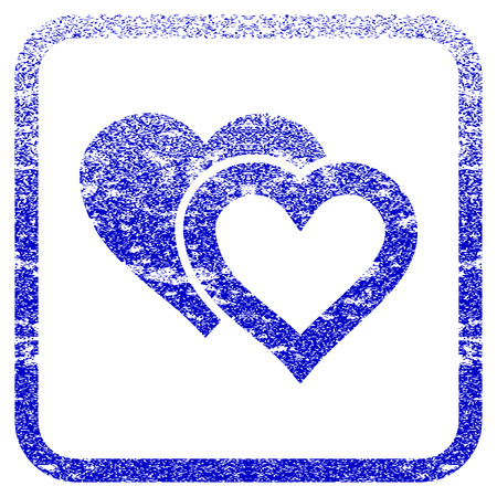 Love Hearts textured icon for overlay watermark stamps. Blue vectorized texture. Flat vector symbol with scratched design inside rounded square frame. Framed blue rubber seal stamp imitation. Illustration