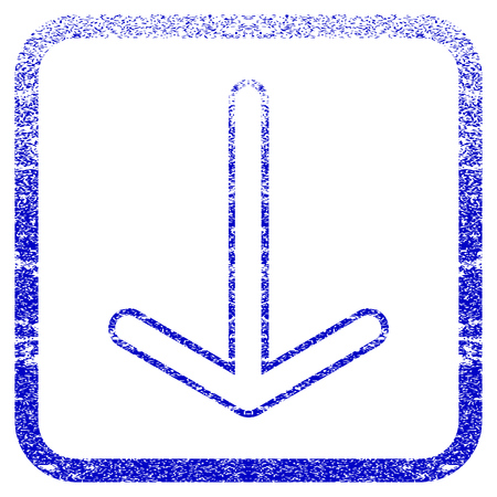rasterized: Arrow Down textured icon for overlay watermark stamps. Blue rasterized texture. Flat raster symbol with dirty design inside rounded square frame. Framed blue rubber seal stamp imitation.