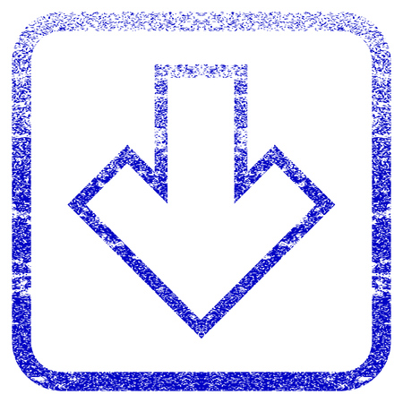rasterized: Arrow Down textured icon for overlay watermark stamps. Blue rasterized texture. Flat raster symbol with scratched design inside rounded square frame. Framed blue rubber seal stamp imitation.