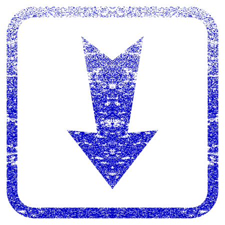 rasterized: Arrow Down textured icon for overlay watermark stamps. Blue rasterized texture. Flat raster symbol with dust design inside rounded square frame. Framed blue rubber seal stamp imitation.
