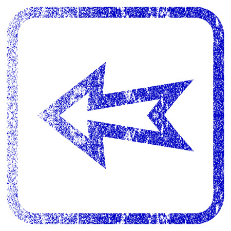 before: Arrow Left textured icon for overlay watermark stamps. Blue rasterized texture. Flat raster symbol with dust design inside rounded square frame. Framed blue rubber seal stamp imitation.