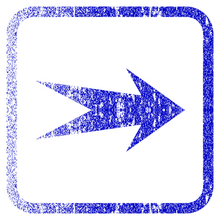 proceed: Arrow Right textured icon for overlay watermark stamps. Blue rasterized texture. Flat raster symbol with scratched design inside rounded square frame. Framed blue rubber seal stamp imitation.