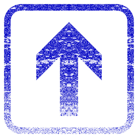 penetrating: Arrow Up textured icon for overlay watermark stamps. Blue rasterized texture. Flat raster symbol with dust design inside rounded square frame. Framed blue rubber seal stamp imitation.