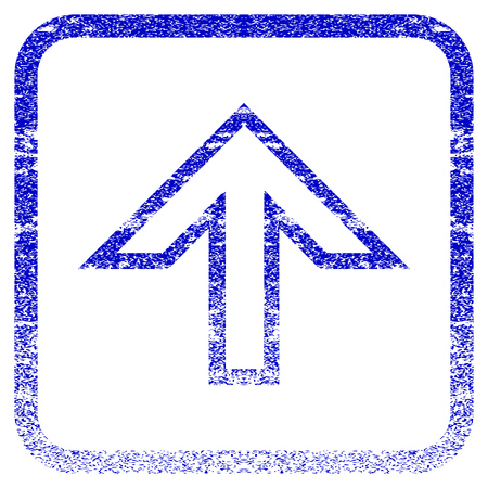rasterized: Arrow Up textured icon for overlay watermark stamps. Blue rasterized texture. Flat raster symbol with unclean design inside rounded square frame. Framed blue rubber seal stamp imitation.