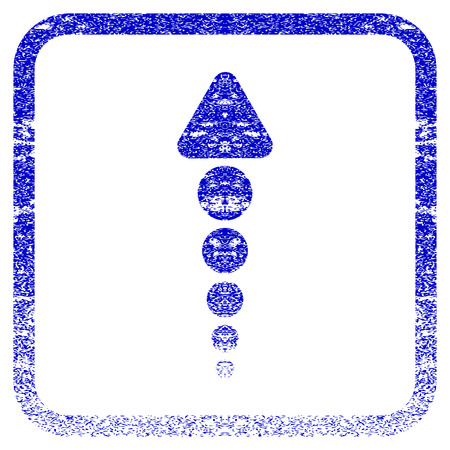 Arrow Up textured icon for overlay watermark stamps. Blue rasterized texture. Flat raster symbol with dust design inside rounded square frame. Framed blue rubber seal stamp imitation.