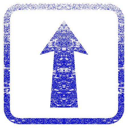 penetrating: Arrow Up textured icon for overlay watermark stamps. Blue rasterized texture. Flat raster symbol with unclean design inside rounded square frame. Framed blue rubber seal stamp imitation.