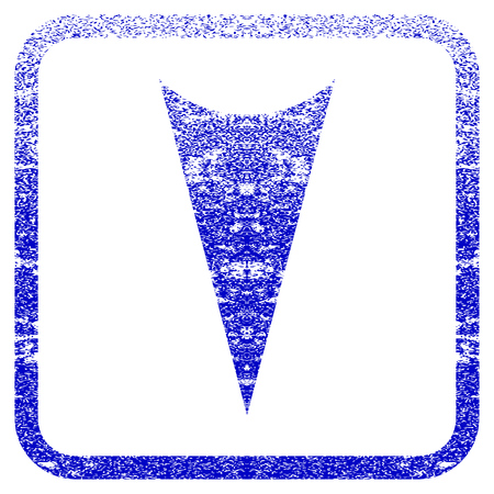 rasterized: Arrowhead Down textured icon for overlay watermark stamps. Blue rasterized texture. Flat raster symbol with unclean design inside rounded square frame. Framed blue rubber seal stamp imitation.