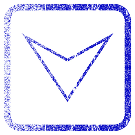 Arrowhead Down textured icon for overlay watermark stamps. Blue rasterized texture. Flat raster symbol with unclean design inside rounded square frame. Framed blue rubber seal stamp imitation.