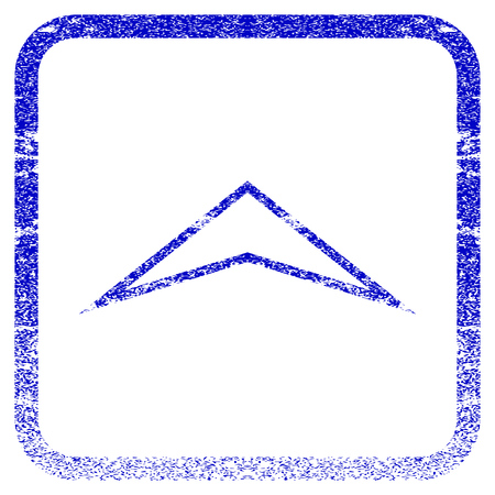 rasterized: Arrowhead Up textured icon for overlay watermark stamps. Blue rasterized texture. Flat raster symbol with dirty design inside rounded square frame. Framed blue rubber seal stamp imitation.