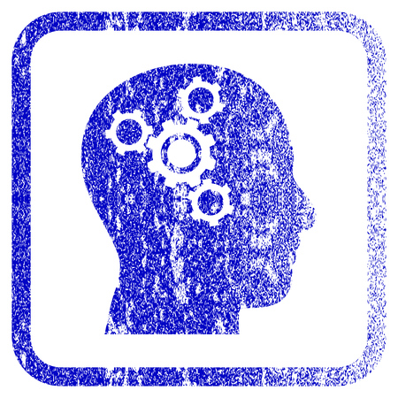 rasterized: Brain Mechanics textured icon for overlay watermark stamps. Blue rasterized texture. Flat raster symbol with dust design inside rounded square frame. Framed blue rubber seal stamp imitation. Stock Photo