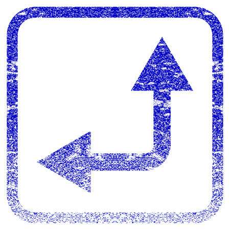 bifurcation: Bifurcation Arrow Left Up textured icon for overlay watermark stamps. Blue rasterized texture. Flat raster symbol with dirty design inside rounded square frame.