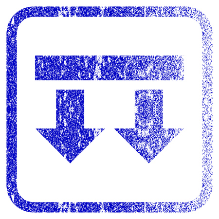 rasterized: Bring Down textured icon for overlay watermark stamps. Blue rasterized texture. Flat raster symbol with scratched design inside rounded square frame. Framed blue rubber seal stamp imitation.