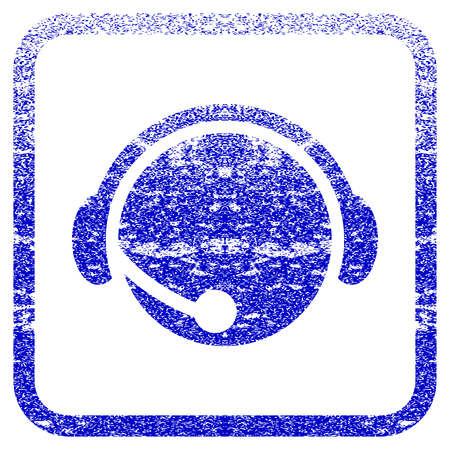 rasterized: Call Center Operator textured icon for overlay watermark stamps. Blue rasterized texture. Flat raster symbol with unclean design inside rounded square frame. Framed blue rubber seal stamp imitation. Stock Photo