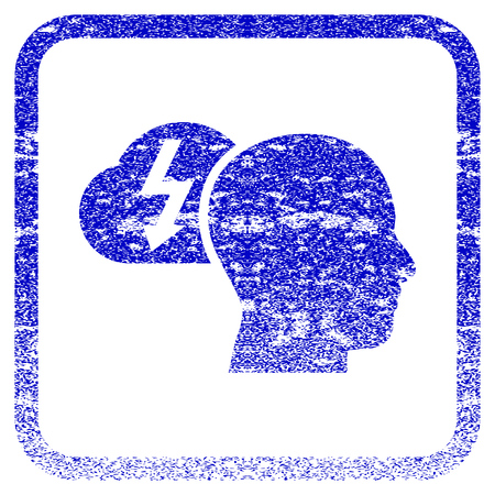 rasterized: Brainstorming textured icon for overlay watermark stamps. Blue rasterized texture. Flat raster symbol with unclean design inside rounded square frame. Framed blue rubber seal stamp imitation. Stock Photo