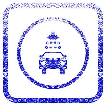 dirty car: Car Shower textured icon for overlay watermark stamps. Blue rasterized texture. Flat raster symbol with scratched design inside rounded square frame. Framed blue rubber seal stamp imitation.