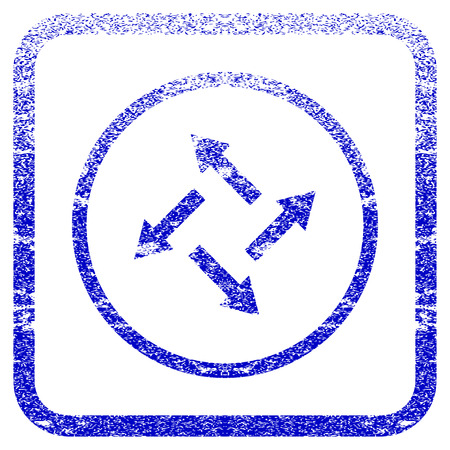 rasterized: Centrifugal Arrows textured icon for overlay watermark stamps. Blue rasterized texture. Flat raster symbol with dirty design inside rounded square frame. Framed blue rubber seal stamp imitation.