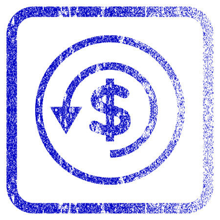reverse: Chargeback textured icon for overlay watermark stamps. Blue rasterized texture. Flat raster symbol with dirty design inside rounded square frame. Framed blue rubber seal stamp imitation.