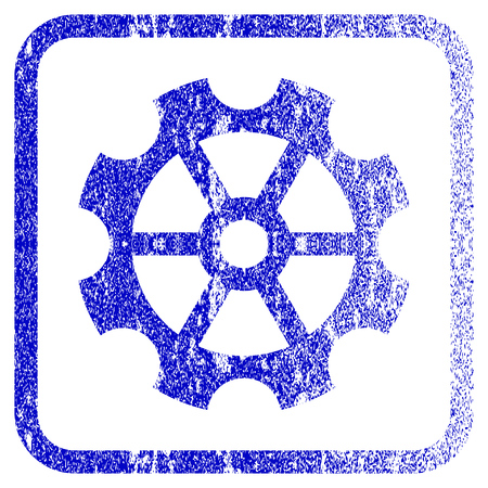 rasterized: Gear textured icon for overlay watermark stamps. Blue rasterized texture. Flat raster symbol with dirty design inside rounded square frame. Framed blue rubber seal stamp imitation.