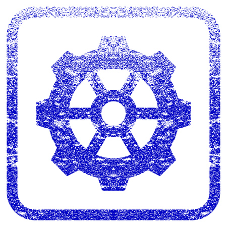 rasterized: Gear textured icon for overlay watermark stamps. Blue rasterized texture. Flat raster symbol with scratched design inside rounded square frame. Framed blue rubber seal stamp imitation. Stock Photo
